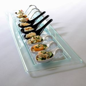 Two Glass Effect Rectangular Platters: Party Tableware