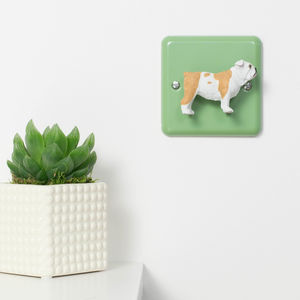 Green Metal Light Switch With British Bulldog