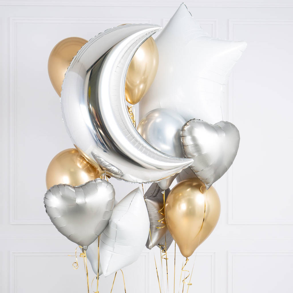 White, Silver And Gold Crazy Balloon Bunch