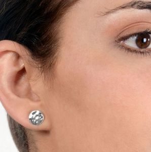 Everyday Textured Sterling Silver Round Stud Earrings - earrings