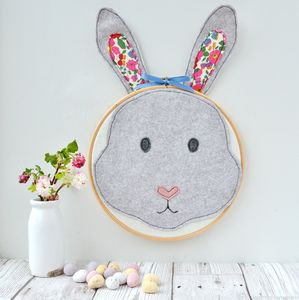 Handmade Rabbit Head Embroidery Hoop - mixed media & collage