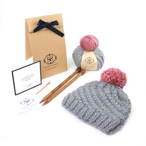 Beginner's Pom Pom Hat Knitting Kit - knitting kits