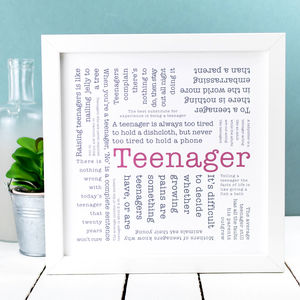 Gift For Teen; 'Teenager' Quotes Print - posters & prints