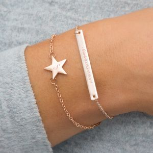 Personalised Skinny Star And Bar Bracelet Set - bracelets & bangles