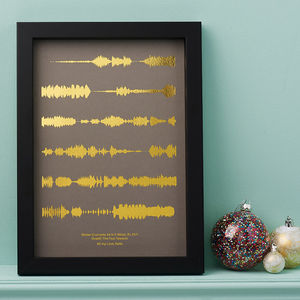 Metallic Personalised Favourite Song Sound Wave Print - best wedding gifts
