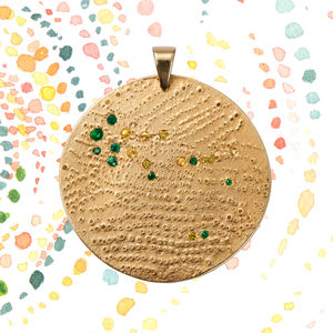Dust Of Stones Gold Pendant With Precious Stones