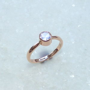 9ct Rose Gold And Moonstone Engagement Ring - engagement rings