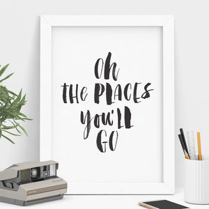 'Oh The Places You'll Go' Watercolour Print - winter sale