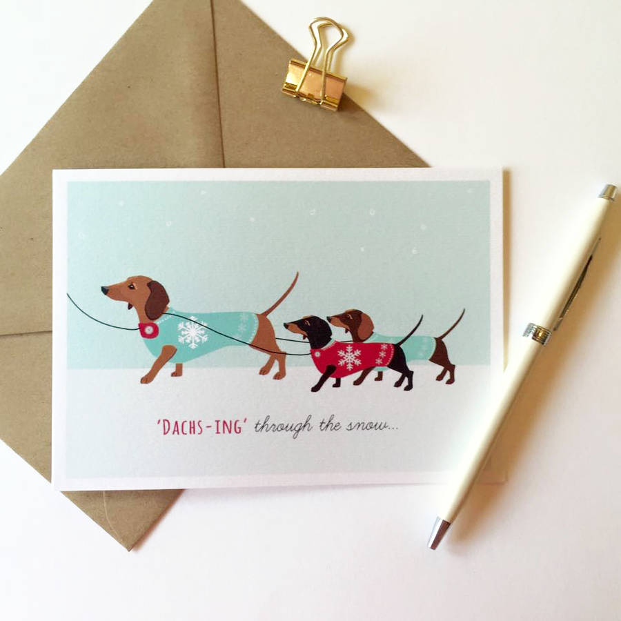 dachshund pack of eight christmas cards by sirocco design ...