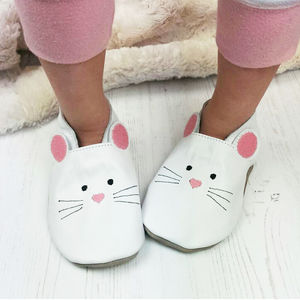 Leather Mouse Children's Slippers