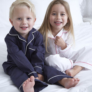 Boy's Personalised Navy Cotton Pyjamas