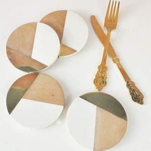 Geometric And Brass Coasters - new in