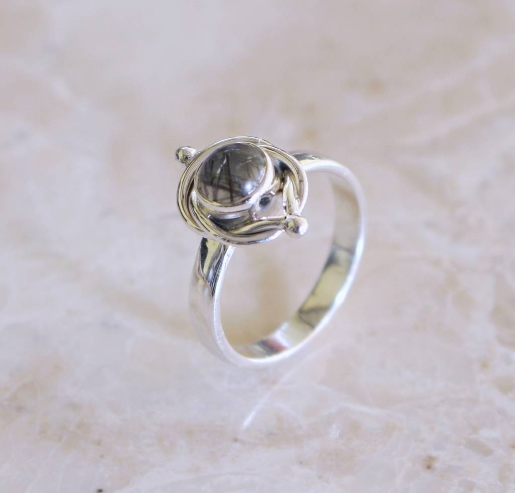 Sterling Silver Gemstone Ring With Twist