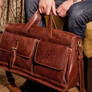 Men's Luxury Leather Holdall - holdalls & weekend bags