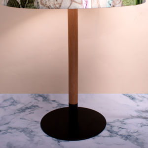 Slim Modern Wood Table Light Shade Stand, Iron Base