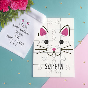Personalised Cute Cat Face Jigsaw Puzzle - board games & puzzles