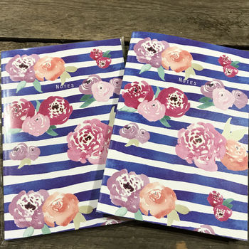 Floral Stripe Lined Notebook