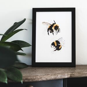 Pair Of Watercolour Bumblebees A5 Print