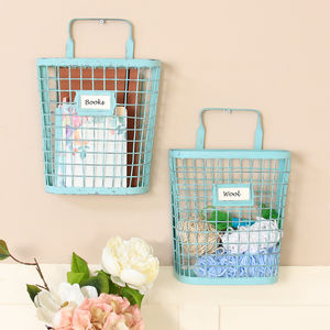Vintage Blue Metal Wall Storage Baskets - magazine racks
