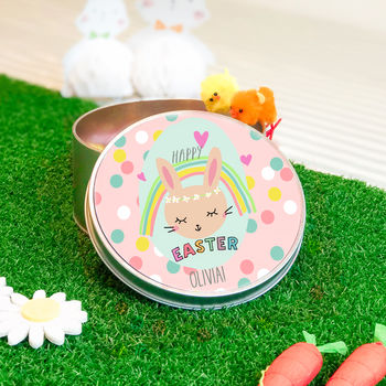 Personalised Easter Tin 'Rainbow Bunny'