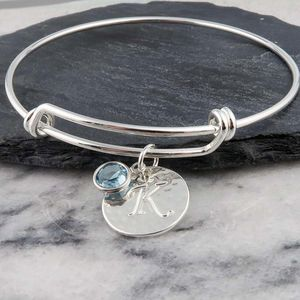 Birthstone And Initial Bangle - bracelets & bangles