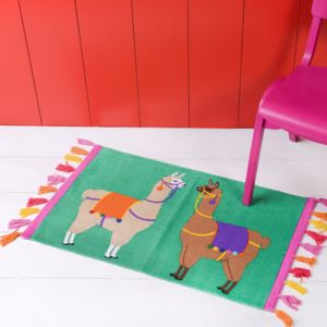Llama With Pom Poms Rug - children's room