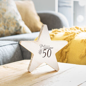Personalised Wooden Star 50th Birthday Gift For Her