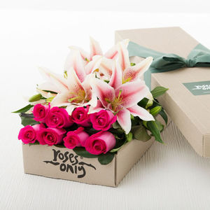 Pink Lilies And Rose Gift Bouquet - home