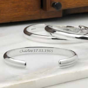 Mans Curved Silver Torque Bangle