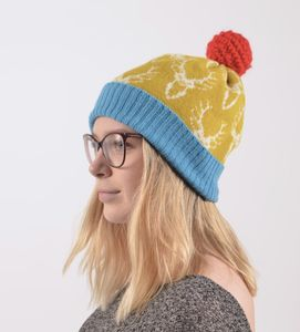 Bright Lambswool Knitted Stag Bobble Hat - hats, scarves & gloves