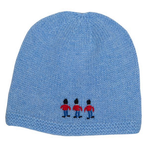 Cashmere Baby Hat With Embroidered Soldiers - babies' hats