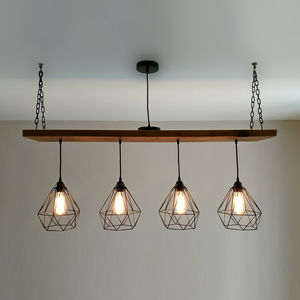 Solid Wood Beam Multi Industrial Light Oak Style - ceiling lights