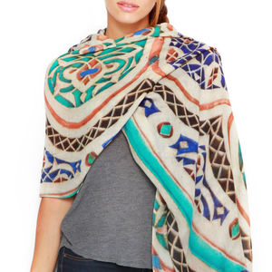 Womens Printed Cashmere Silk Scarf, Bahia Tile - women's accessories