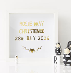 Personalised Christening Print - nursery pictures & prints