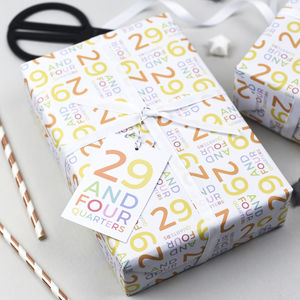 30th Birthday '29 And Four Quarters' Wrapping Paper Set - wrapping paper