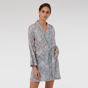 Short Cotton Robe In Grey French Fleurs