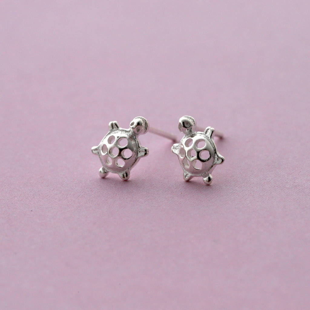 Silver Tiny Turtle Ear Studs