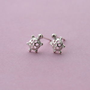 Silver Tiny Turtle Ear Studs - earrings