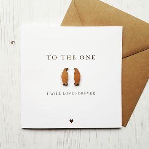 Wooden Penguin Love Gold Foiled Card - love & romance cards
