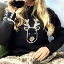 Personalised Leopard Print Rudolph Christmas Jumper