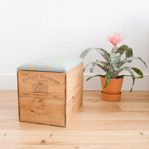 Wine Crate Ottoman For Stylish Seating And Storage - footstools & pouffes
