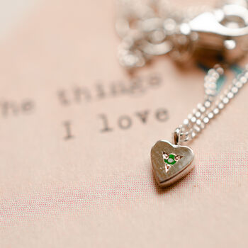 Personalised Birthstone Sweet Love Heart Pendant