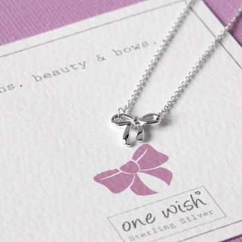 Sterling Silver Bow Necklace On A Sentiment Gift Card