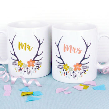 His And Hers 0r Mr And Mrs Wedding Mugs