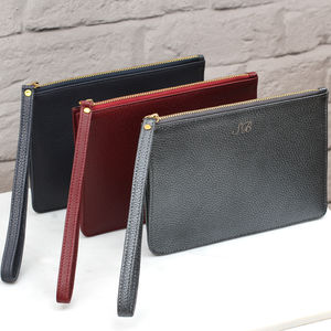 Personalised Luxury Leather Wrist Strap Clutch Bag - clutch bags