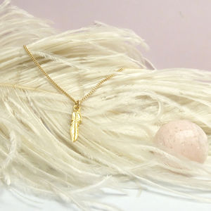 Personalised Single Gold Feather Charm Necklace - necklaces & pendants