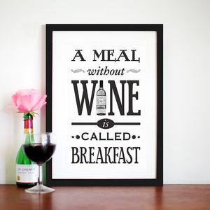 'A Meal Without Wine' Typographic Wine Print