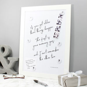 Magnetic Memo Board And Fun Typographic Quote Print - new in home