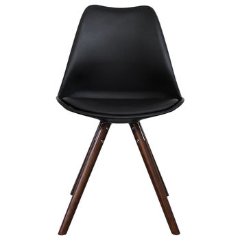 Black Copenhagen Chair With Walnut Wooden Legs