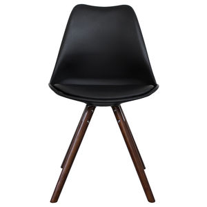 Black Copenhagen Chair With Walnut Wooden Legs - office & study